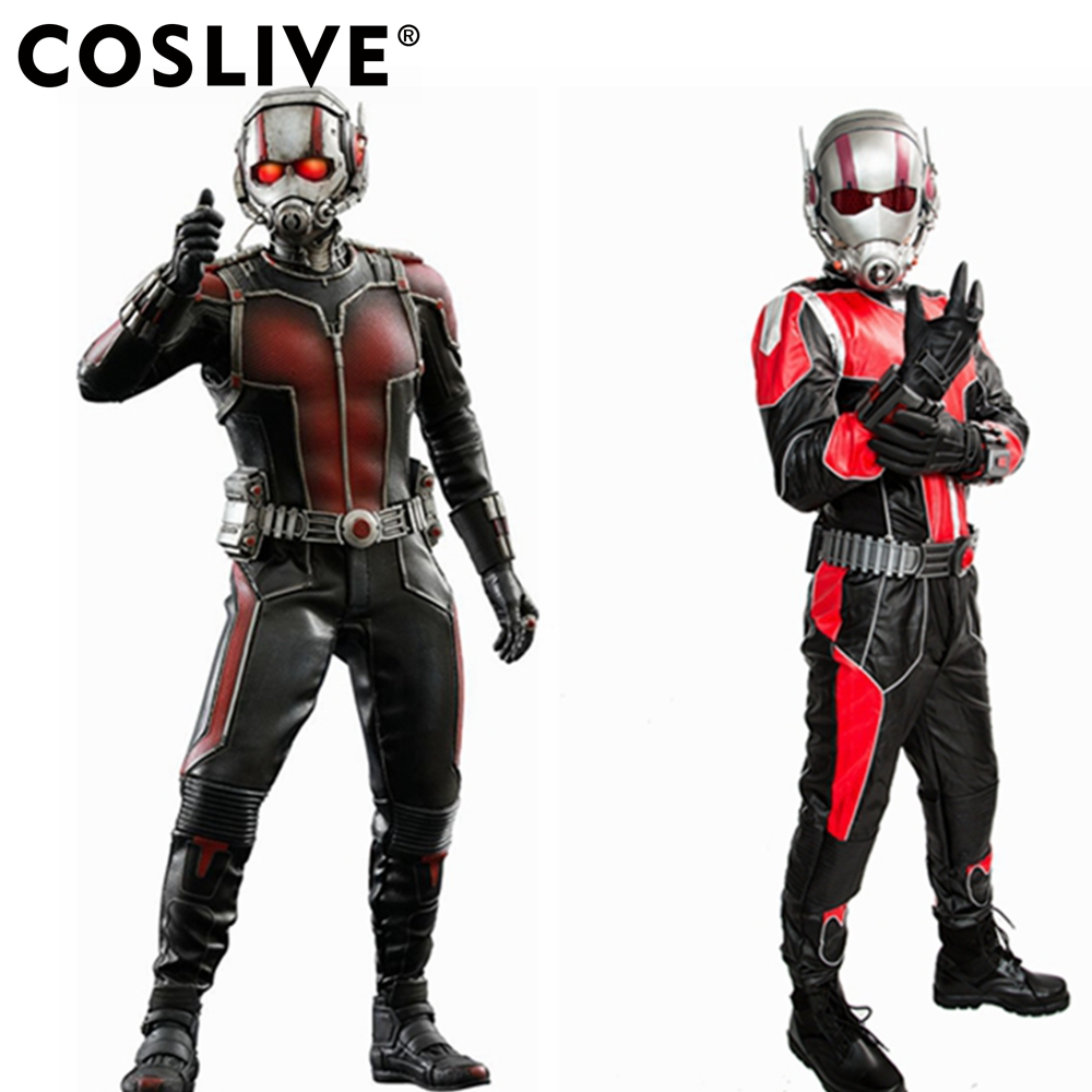 Coslive Ant man Dress Outfit COSplay Jumpsuit PU Superhero Costume Deluxe Full Sets Men Prop Replica Ant Man Cosplay