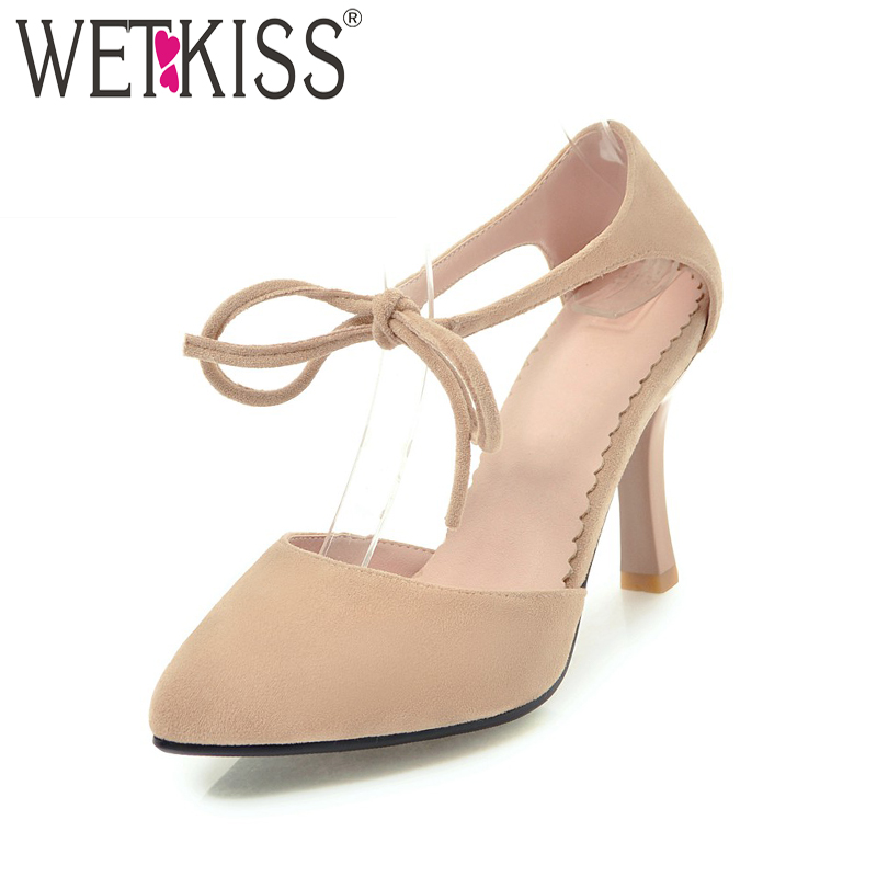 WETKISS High Heels Women Sandals Shoelaces Pointed Toe Thin Heels Flock Footwear New 2018 Summer Ankle Strap Party Ladies Shoes wholesale lttl new spring summer high heels shoes stiletto heel flock pointed toe sandals fashion ankle straps women party shoes