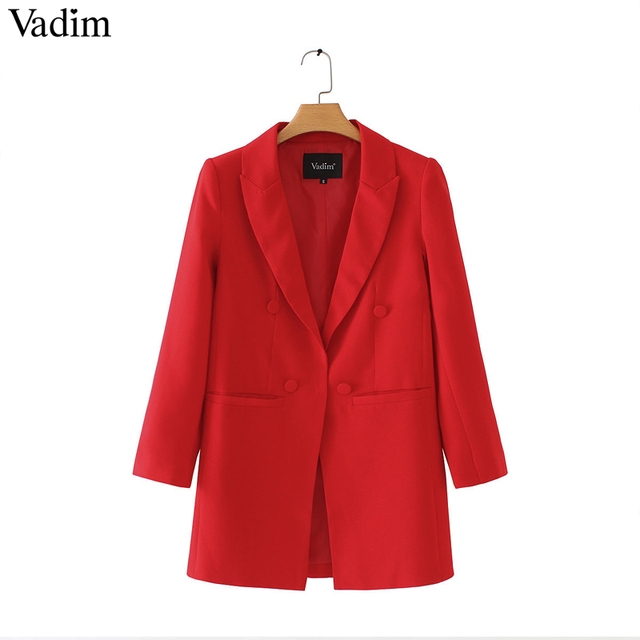 Vadim vrouwen schouderophalen lange blazers lange mouwen Notched kraag solid rood zwart bovenkleding kantoor dame werkkleding basic chic tops CA093