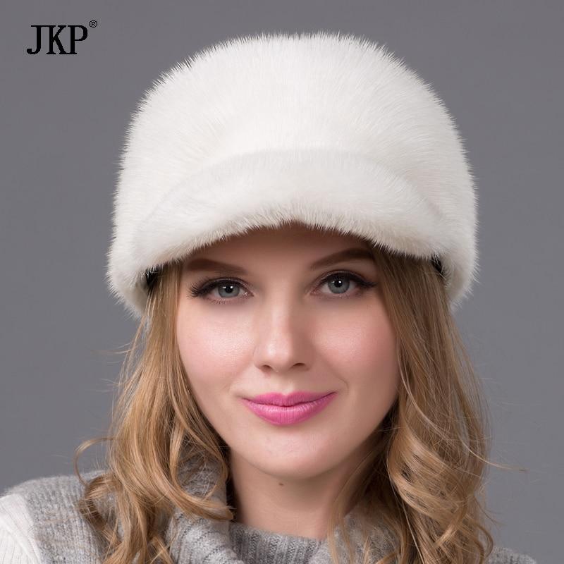 Women winter real natural Whole fur mink fur hat  Ear protection fashion fur Duck tongue hat