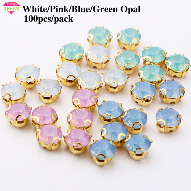 RESEN 50pcs pack Blue Green White Pink Opal Colors 8mm Round Sew On  Rhinestone Gold Claw Plastic Resin Opal Rhinestones f9bd730575fd