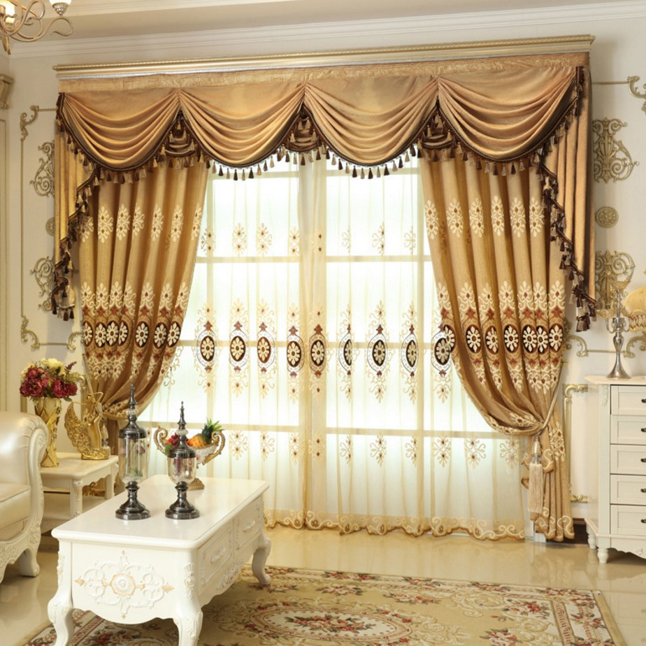 Bedroom valance curtains - Luxury Blending Embroidered Valance Curtain Fabric Blackout Curtains For Living Room Bedroom Product Customization China
