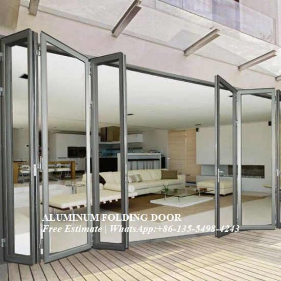 Aluminum Extrusion Profile Heat Insulation Bi-fold Door,MultiSashes Non Thermal Break Aluminum Folding Door