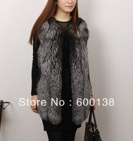 new style fashion leather with silver fox fur waistcoat