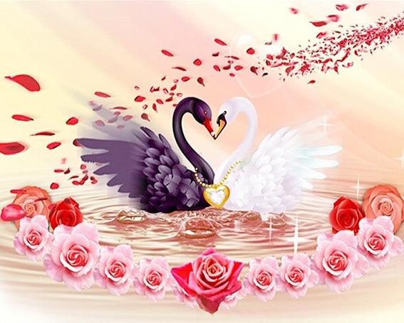 broderie diamant Cygne et rose amour 2