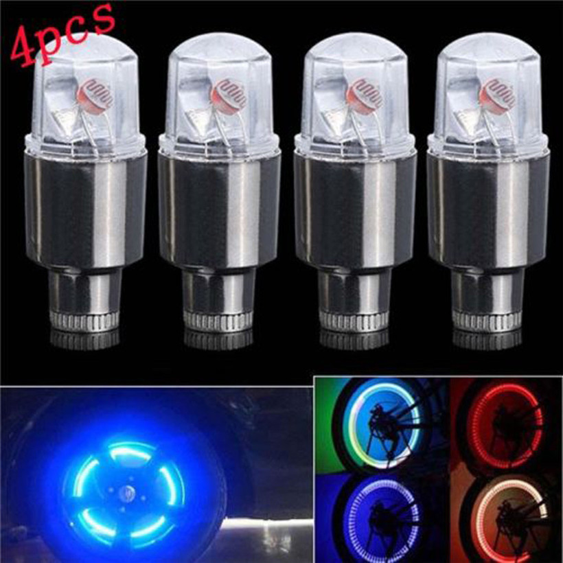 4pcs Bike Car Motorcycle Wheel Tire Tyre Valve Cap Neon LED Flash Light Outdoor Sports Bike Cycling Accessories Top Quality 4A