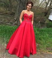 2019 Red Ball Gown Graduation Dresses Prom Dresses Sweetheart Appliques Long Party Dresses Puffy robe de soiree M2219