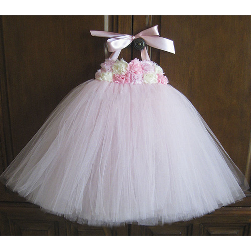 Flower Girl Dress Pink Ivory Grey Baby Girls Dress Toddler Tutu