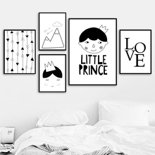 Little Prince Nordic Posters And Prints Wall Art Canvas Painting Black White Picture Kids Baby Room Nursery Home Decor