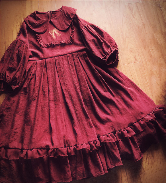 17ac950766a Sweet Lolita Cute Girl Dress Solid Embroidery Peter Pan Collar Fairy  Dresses Loose Casual Half Sleeve