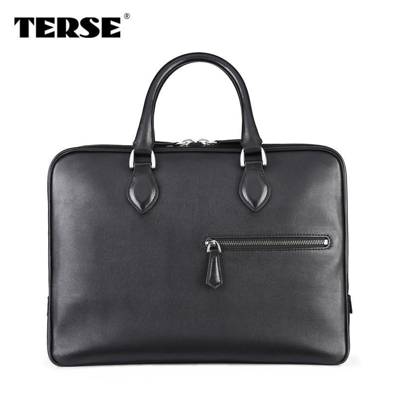 TERSE_Black laptop bag venezin calfskin high quality handmade briefcase for men customize logo China factory manufacturer