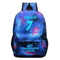 01033e6b35b Luminous Teenage Backpack Boys Girls School Bags C Ronaldo Printing  Schoolbags Night Rucksack Satchel Mochila BP0257