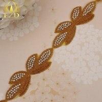 (1 yard) Sliver Crystal Gold Beaded Rhinestones For Garment Appliques Sewing On Sliver Glass Motif Trim Sash Belt Crystal Hotfix