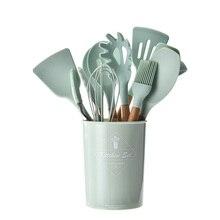 9 шт. набор инструментов для приготовления пищи премиум-класса, силиконовая свежая зеленая кухонная утварь, набор Тернер, щипцы, лопатка, ложка, Тернер, набор посуды