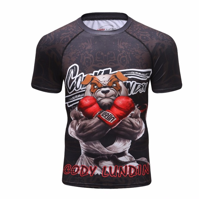 2018 dos homens Camisa Rashguard MMA Crossfit Fitness Musculação Tops Nova  Compressão 3D BJJ Jiu Jitsu d5f215b5b0947