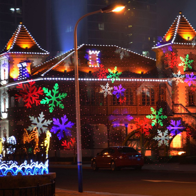 10 Patterns Christmas Laser Snowflake Projector Lights Outdoor Waterproof Disco Lights Halloween Decoration For Home Garden