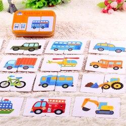 الرسم البياني مباراة لعبة طفل في وقت مبكر التعليمية ألعاب مونتيسوري لغز بطاقة الكرتون سيارة التعلم جيب بطاقة فلاش MG09