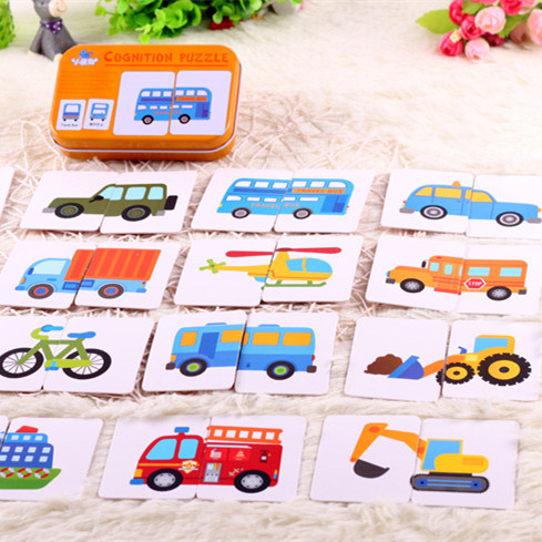 Graph Match Game Kid's Early Educational Montessori Toys Puzzle Card Cartoon Vehicle Learning Pocket Flash Card MG09(China)