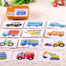 Tarjeta de memoria Flash de bolsillo para Aprendizaje de vehículo de dibujos animados, tarjeta de rompecabezas, juguetes educativos Montessori temprano para chico, juego gráfico combinado, MG09