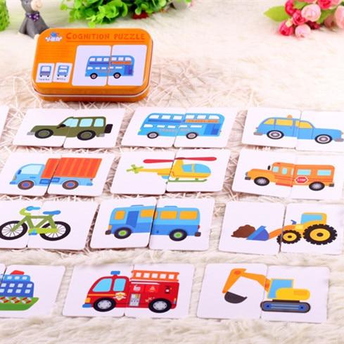 Gráfico juego de educación temprana juguetes de Montessori rompecabezas Tarjeta de dibujos animados vehículo Animal fruta par juego MG09