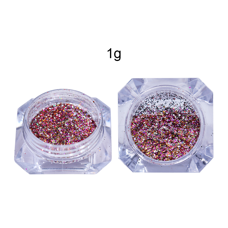 Image 3 - Gradient Mini Hexagon Shape Laser Shining Nail Art Glitter DIY Sparkly Paillette Tips Nail Manicure Sequins Dust For Nail-in Nail Glitter from Beauty & Health