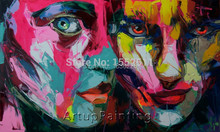 Nielly Francoise pop art people face 100% handmade knife oil painting on canvas office decoration large canvas art cheap