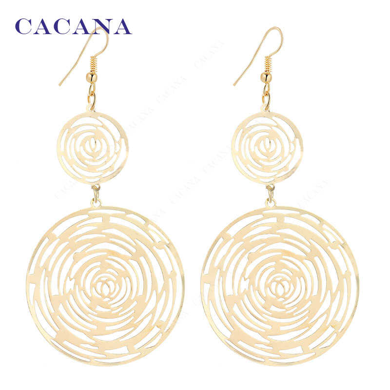 CACANA  Dangle Long Earrings For Women Spiral Pattern Round Bijouterie Hot Sale No.A343 A344