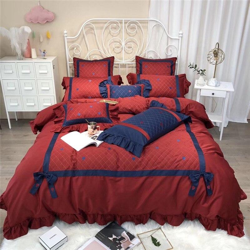 Ensemble de literie 100% coton rouge bleu ensemble de draps Queen King size drap housse de couette parrure de lit ropa de cama