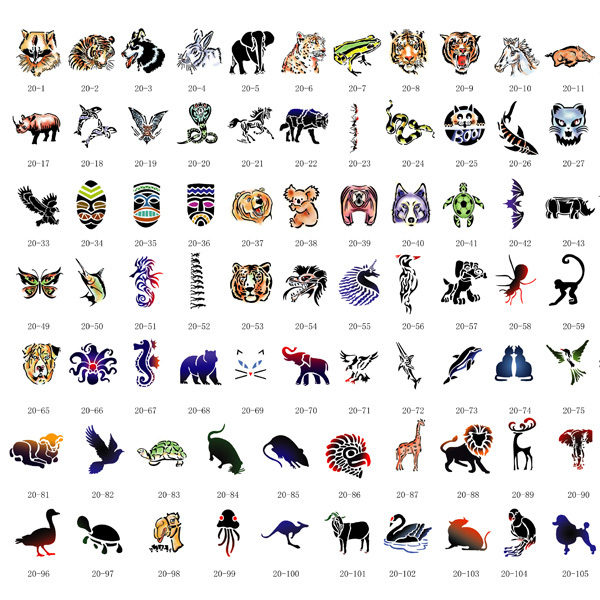 все цены на [Hot Sale] 110 Designs- [ Animals] Airbrush Body Art Tattoo Stencil Template BOOK 18, Free Shipping for most countries