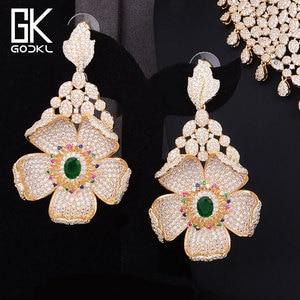 Image 3 - GODKI Luxus Cubic Zirkon Nigerian Schmuck sets Für Frauen hochzeit Indische Halskette Ohrringe sets Armreif Ring parure bijoux femme