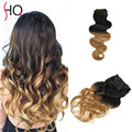 Brazilian Virgin Hair Clip Ins 1B/27 Mega Hair Cabelo Humano Body Wave Ombre Clip in Hair Extensions BY10