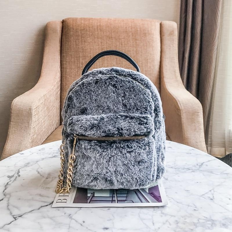 Мода рюкзак Для женщин Кролик Мех животных плюшевые мини-рюкзак Зимние Кожаные Лоскутное Портативный леди сумка Роскошные детей Ba