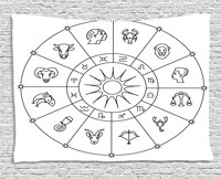Astrology Tapestry Sketchy Zodiacal Circle with Astrology Signs Aries Aquarius Pisces Lion Art, Wall Hanging for Bedroom