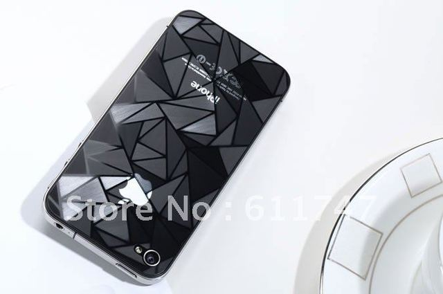 High quality Screen Guard film for iphone 4 4S 3D Diamond screen Protector front+Back, with retail package, free shipping