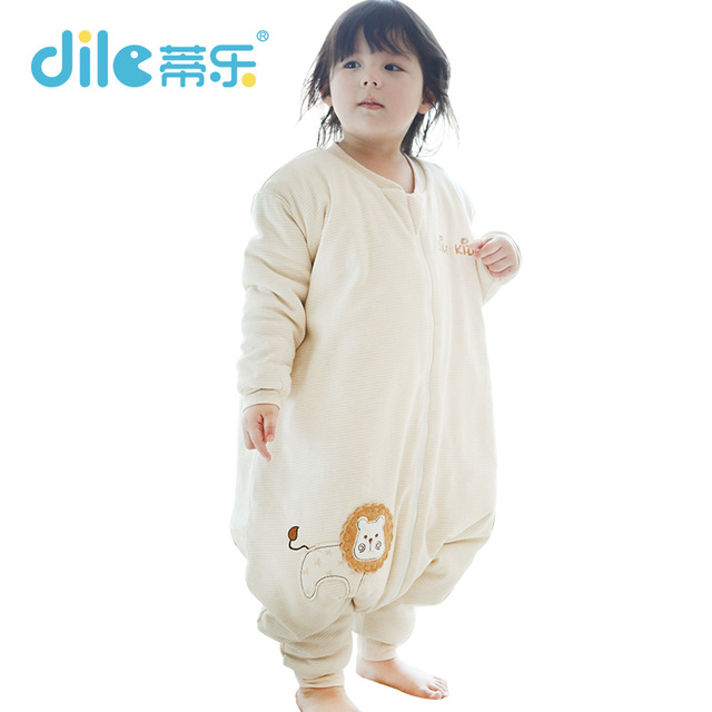 Dile baby sleeping bags for winter100%cotton baby sleepsiut kid sleep bag long-sleeve letter pattern children sleep rompers