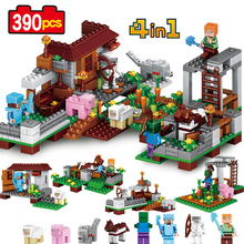 My World four in 1 Steve Farm 390pcs Compatible Lego constructing blocks Minecrafted motion mannequin Kids academic motion toys