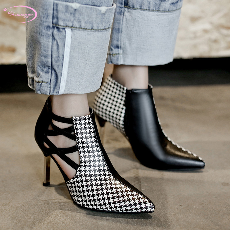 European casual style sexy pointed toe summer boots sandals fashion plaid color matching zipper high heels women's shoes