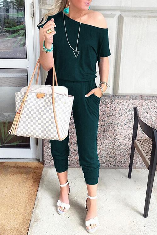 Solid Casual Sexy Off Shoulder Short Sleeve Women Suit 2019 New Arrival Women Summer Fashion Slim Elegant Long Rompers Female 23