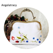 Angelatracy 2018 Vintage Women Handbag Handmade Cotton Bags White Floral Metal Frame 3D Embroidery Sea-lavender Tulips Pear