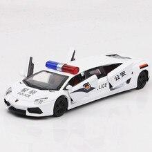 Fehér Super Sport Cop Autós Játékok 1:36 Scale Diecast Metal Car 17CM Pull Back Mini Szimuláció Auto Boy Acousto-Optic Model Jármű