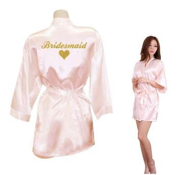 Bridesmaid Robes Heart Golden Glitter Print Night Wear