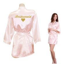 7f29168461 Bridesmaid Robes Bridesmaid Heart Golden Glitter Print Faux Silk Kimono Robes  Wedding Gift Bride Team Bachelorette