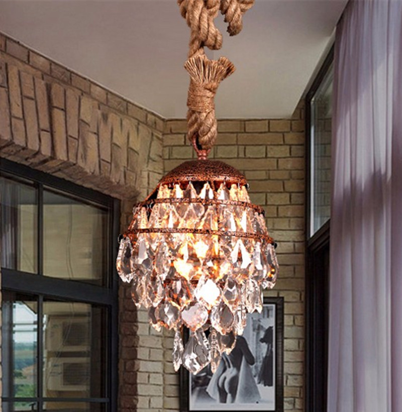 1 pcs Vintage rustic coffee shop light iron pendant lights lamp rope crystal hanging lamp American Industrial Light E27 Loft Bar