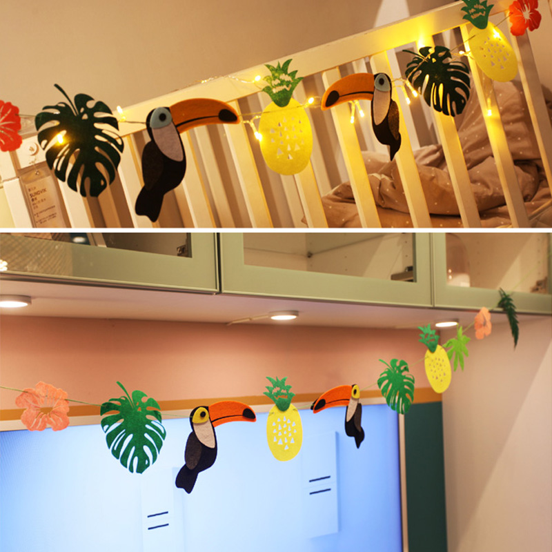 Rainforest Cartoon Toucan Garland Kids Children Birthday Party Supplies Baby Shower Banner Decorations Favors