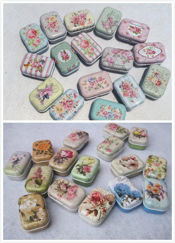 A Box Of 32 Mini Beautiful Flowers Tin Metal Box Sealed Jar Packing Boxes Home Small Storage Organizer For Jewelry Kids Toy Gift