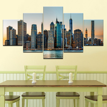 New York City NYC Skyline Skyscraper 5 piece Wallpapers modern Modular Poster art Canvas painting for Living Room Home Decor new york a three dimensional expanding city skyline