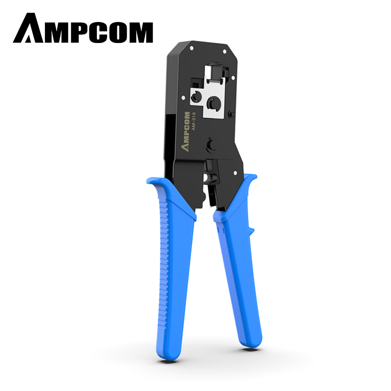 AMPCOM Pratical Series Blue RJ11 RJ45 Crimping Tool Crimping Pliers Network Cable CrimpTool For 6P 8P RJ-11/RJ-12 RJ-45