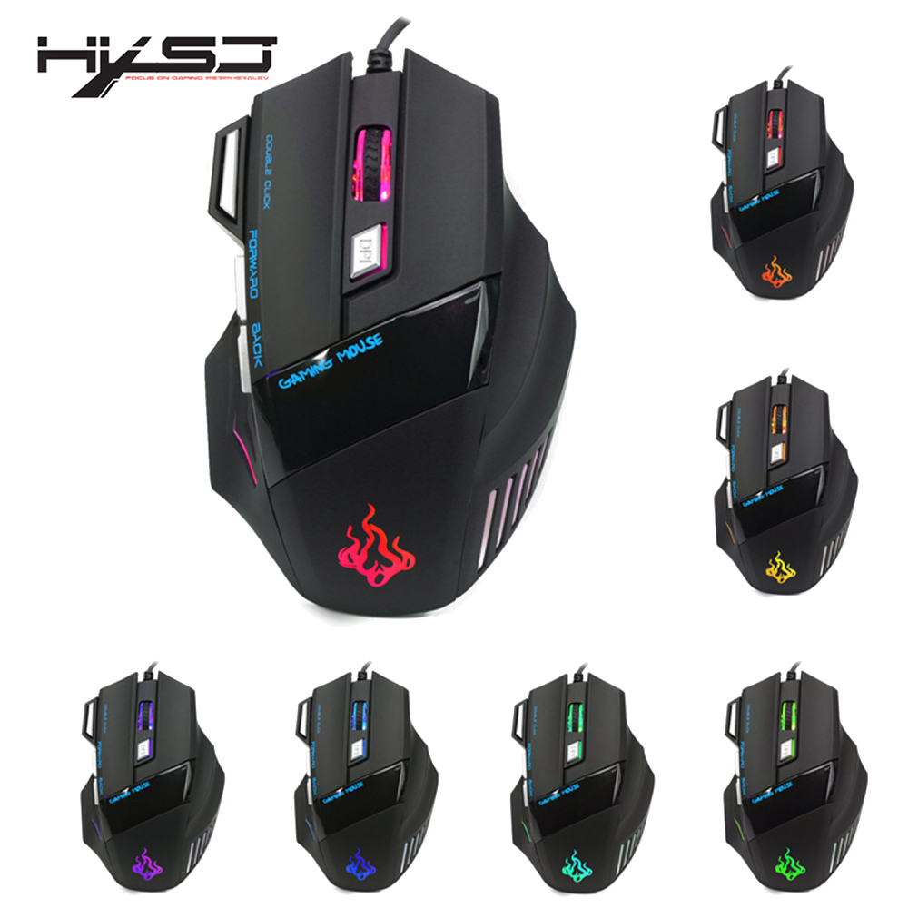 HXSJ A908 5500 DPI 7 Buttons Colorful Light Emitting Professional Optical Mechanical Wired Gaming Cable Mouse Mice-in Mice from Computer & Office