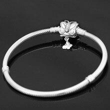 Butterfly Clip S925 Silver Bracelet Snake Chain Bangle For European Sterling Silver Charm Bead Women Girl Jewelry Valentine Gift недорого