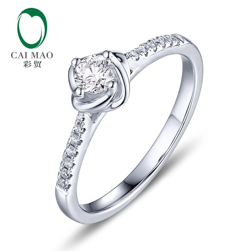 CaiMao 0.18ct Natural Brilliant Cut F VS Diamond Engagement Ring 14K White Gold Anniversary caimao 0 18ct natural round f vs diamond 14k white gold engagement wedding ring
